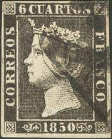 """º1A. 1850. 6 Cuartos Negro (II-38). Matasello """"As"""", En Negro De Barcelona. MAGNIFICO. - Spain"""
