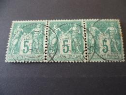 SAGE  N° 75   BANDE DE 3  OBLITERE  VANNES  MORBIHAN - 1876-1898 Sage (Type II)