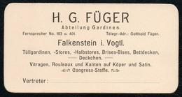 B9906 - TOP - H.Gottfried Füger - Visitenkarte - Falkenstein - Gardinen - Visitenkarten