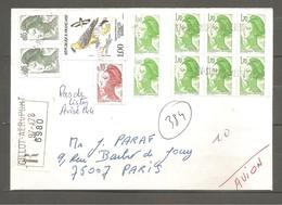 LIBERTE - Affranchissement Composé Sur LR. ANNULATION Par Griffes 974-ST DENIS MESSAGERIES. Réunion. TTB. - 1982-90 Liberté De Gandon