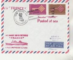 Cachet S/S FRANCE Le Plus Long Paquebot Du Monde New York  Paquebot 19/6/1968 - Timbres Europa - Poste Navale - France