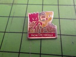 1118c Pin's Pins : Rare, Belle Qualité : THEME POMPIERS / SAPEURS POMPIERS MONTPEYROUX C'est Pas L'Amérique - Bomberos