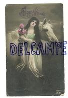 Bonne Année. Jeune Femme Et Cheval Blanc. Photographie. BNA - Non Classés
