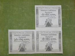 Planche De 3 Assignats 10 Sous émission Du 23 Mai 1793 Cf Lafaurie N°165 Signé GUYON - Assignats & Mandats Territoriaux