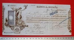 ESPAGNE. BILLET / CHEQUE 1897. 100 PTS. LUGO - BARCELONA. BANCO DE ESPAÑA. BANKNOTE. SPAIN. - [ 1] …-1931 : First Banknotes (Banco De España)