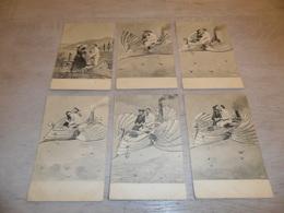 Couple ( 47 )   Koppel   Serie Van 6 Postkaarten - Serie De 6 Cartes Postales - Genre Viennoise  Surrealisme - Couples