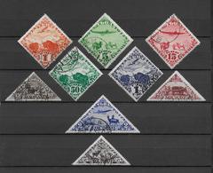 TOUVA - 1934 - SERIE COMPLETE AERIENS YVERT N° 1/9 OBLITERES - COTE YVERT = 50 EUR. - Touva