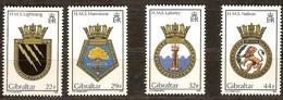 Gibraltar 1986 Yvertn° 521-524 *** MNH  Cote 12,00 Euro Armoiries De Bâtiments Royal Navy - Gibraltar
