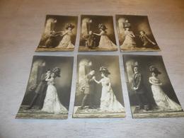 Couple ( 52 )   Koppel   Serie Van 6 Postkaarten - Serie De 6 Cartes Postales - Mode  Chapeau  Hoed - Couples