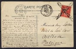Annulation Roulette Belge  Sur CP De Luchon Pour Sichem-Lez-Diest, 1907. - Marcophilie (Lettres)