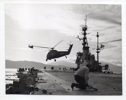 PHOTO  Prise Sur Porte-Hélicoptère Ou Porte-Avions De La Marine Française (animée) - Guerre