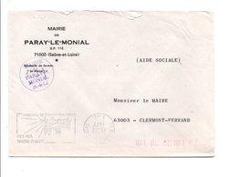 LETTRE DE MAIRIE DE PARAY-LE-MONIAL SAONE ET LOIRE - 1961-....