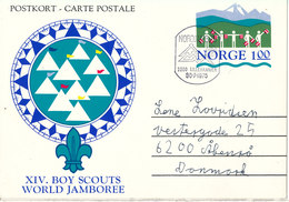 Norway Postcard Postal Stationery XIV. Boy Scouts World Jamboree Nordjamb 75 Lillehammer 30-7-1975 Sent To Denmark - Scouting