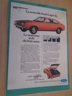 DIV415 : Clipping PUBLICITE ANNEES 80 FORD CAPRI -  Pour  Collectionneurs ... PUBLICITE  Page De Revue Des An - Collectors Et Insolites - Toutes Marques