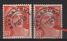 Variété Du N° 885 12f Gandon Orange Lettres POS De La Surcharge Postes Partiellement Effacées - Variétés: 1950-59 Oblitérés