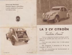 ENCART PUBLICITAIRE - 2 Cv CITROEN Traction Avant Moteur De 375cm3 - Advertising