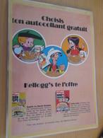 DIV415 : Clipping PUBLICITE POUR AUTOCOLLANTS BD KELLOG'S  -  Pour  Collectionneurs Avisés - Autocollants