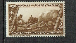 ITALY 1932 Decennale Marcia Su Roma MH 5 Cent Sassone 325 - 1900-44 Victor Emmanuel III