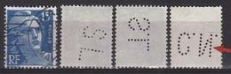 Variété Du N° 886 15f Gandon Outremer Oblitérés Type I Lettres 3 Timbres Perforés 3 - Errors & Oddities