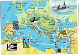 Ship MAHART Hungary Ungarn  1969 Hungarian Shipping Co. Ltd. Europe Map - Barche
