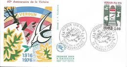 Env Fdc France N°1883 Verdun Et Paris 12/6/76 , Verdun, 60 Ans De La Victoire, Colombe De La Paix - 1970-1979