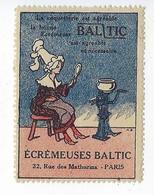 Timbre Vignette Publicitaire Écrémeuse Baltic 1923 Rue Des Mathurins Paris 8 Publicité Agriculture - Erinnophilie