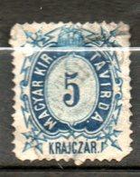 HONGRIE Télégraphe  5kr Bleu 1873 N°1 - Télégraphes