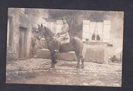 Carte Photo Animée Guerre 14-18 Portrait Militaire à Cheval Deutsche Armee Allemande  Felix Archen Marange Silvange - Otros Municipios