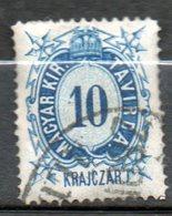 HONGRIE Télégraphe  10kr Bleu 1873 N°2 - Télégraphes