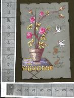 """PETITE CARTE CELLULOÏD PEINTE """"Don Du Coeur"""" , Pot De Fleurs Sur Une Table , Oiseaux - Sonstige"""