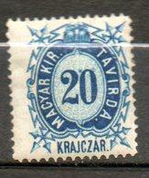 HONGRIE Télégraphe  20kr Bleu 1873 N°3 - Télégraphes