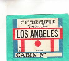 FRENCH LINE  TRANSATLANTIQUE LOS ANGELES ( état Moyen ) - Bateaux