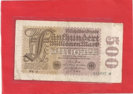 REICHSBANKNOTEN . 500 MO MARK .  1.9.1923  .  N°  117997  . 2 SCANES - [ 3] 1918-1933 : République De Weimar