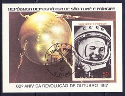 SAO TOME ET PRINCIPE Feuillet 1977-78 Du Timbre YT N° 470 Obl. Non Denteles, Imperf / Youri Gargarine - Sao Tome Et Principe