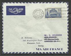 Poste Aérienne Lettre Air France Ref. 4 Versailles Londres YT 400 Seul Sur Lettre Premier Jour 21.7.1938 Mains - Poste Aérienne