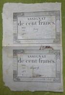 Planche De 2 Assignats Cent Francs émission Du 18 Nivose, An III (7 Janvier 1795) Cf Lafaurie N°173 - Assignats & Mandats Territoriaux
