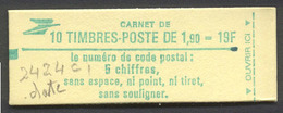 59) Carnet 2424 C1 Conf.8 Avec Date Du 26/8/1986 - Freimarke
