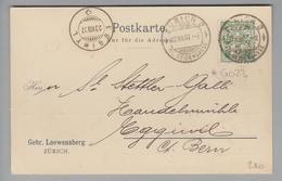 """Schweiz Wertziffern 1907-08-22 Zürich2 Postkarte Mit Perfin #G023 Gebr.Loewensberg """"G.L.Z."""" - Suisse"""
