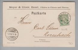 "Schweiz Wertziffern 1900-01-18 Basel Postkarte Mit Perfin #M014 ""MG"" Meyer & Gloor - 1882-1906 Armarios, Helvetia De Pie & UPU"
