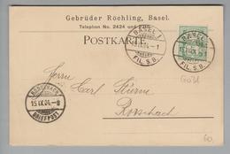 """Schweiz Wertziffern 1904-09-15 Basel1 Fil.S.B. Postkarte Mit Perfin """"G.R."""" #G031 Geb.  Röchling - 1882-1906 Armarios, Helvetia De Pie & UPU"""