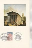Plaquette Illustrée Cachet Recto Maison Carrée NIMES 1981 Verso André Chamson 1993 Signée Frédérique Hébrard Sa Fille - France