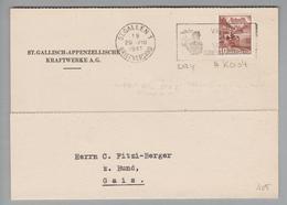 Schweiz 1941-08-29 St.Gallen1 Perfin Auf PK #K004 St.Gallisch-Appenzellische Kraftwerke AG - Schweiz