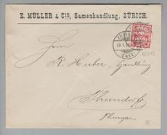 Schweiz Wertziffer 1906-01-20 Zürich7 Brief Mit Perfin #E019 E.Müller & Cie. - 1882-1906 Armarios, Helvetia De Pie & UPU