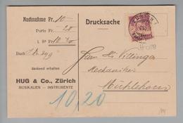 """Schweiz 1921-06-02 Zürich1 Drucksache Mit Perfin #H028 """"Hug"""" Hug&Co. Zürich - Suisse"""
