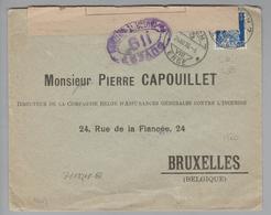 """Schweiz 1918-12-24 Zürich7 Zensurbrief Mit Perfin #S058 """"S.R."""" Rückversicherung Nach Bruxelles - Suisse"""