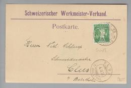 Schweiz 1909-03-03 Zürich15 Postkarte Mit Perfin #S079 Schweizer Werkmeister-Verband - Suisse