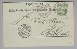 """Schweiz 1903-03-27 Luzern Rasierklingenstempel Postkarte Mit Perfin """"E017"""" Von Moos - 1882-1906 Armarios, Helvetia De Pie & UPU"""