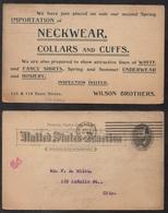 TEXTILE - CONFECTION - CRAVATES - CHEMISES / 1894 USA ENTIER POSTAL PUBLICITAIRE (ref LE2730) - Textile
