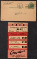 TEXTILE - CONFECTION - MANTEAUX - COSTUMES - ROBES / 1940 USA ENTIER POSTAL PUBLICITAIRE (ref LE2729) - Textile