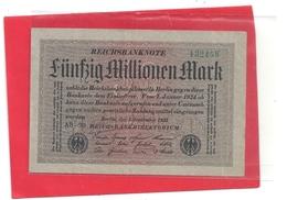 REICHSBANKNOTE . 50 MILLIONEN MARK . 1-9-1923    .  N° 132458 ( Grün )  .  2 SCANES - [ 3] 1918-1933 : République De Weimar